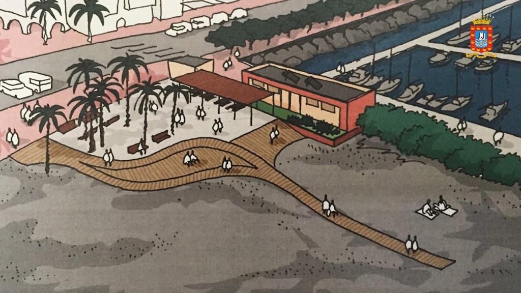 Maqueta de la futura regeneración de la zona de playa