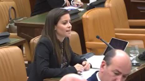 La Senadora durante su intervención