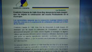 Comunicado de prensa remitido a través del correo electrónico de Coalición Canaria en La Gomera