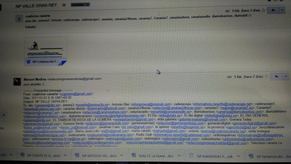 Correo Electrónico de Coalición Canaria recibido en los medios de comunicación.