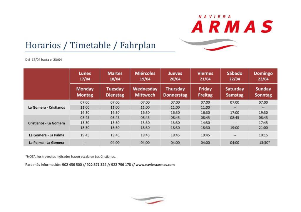 horario del 17 al 23 de abril armas