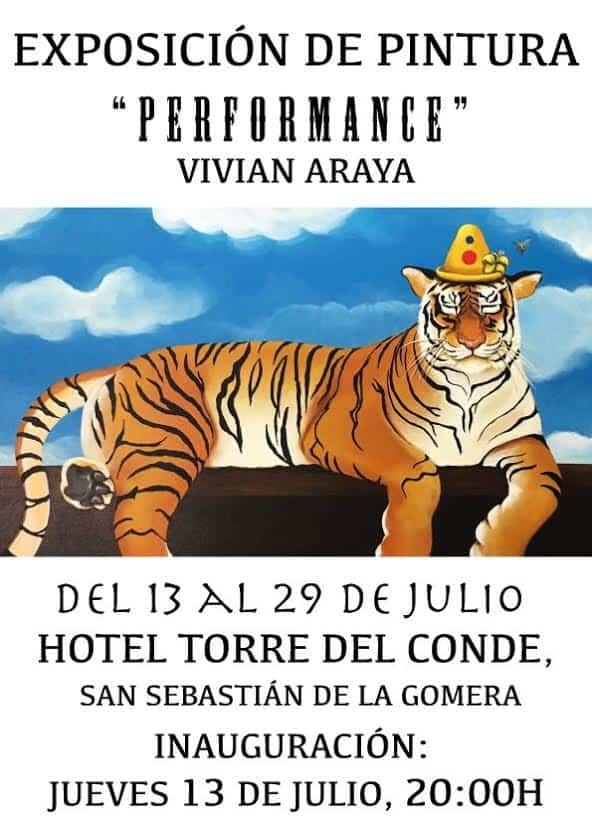 Cartel de la exposición 'Pefomance' de Vivian Araya.