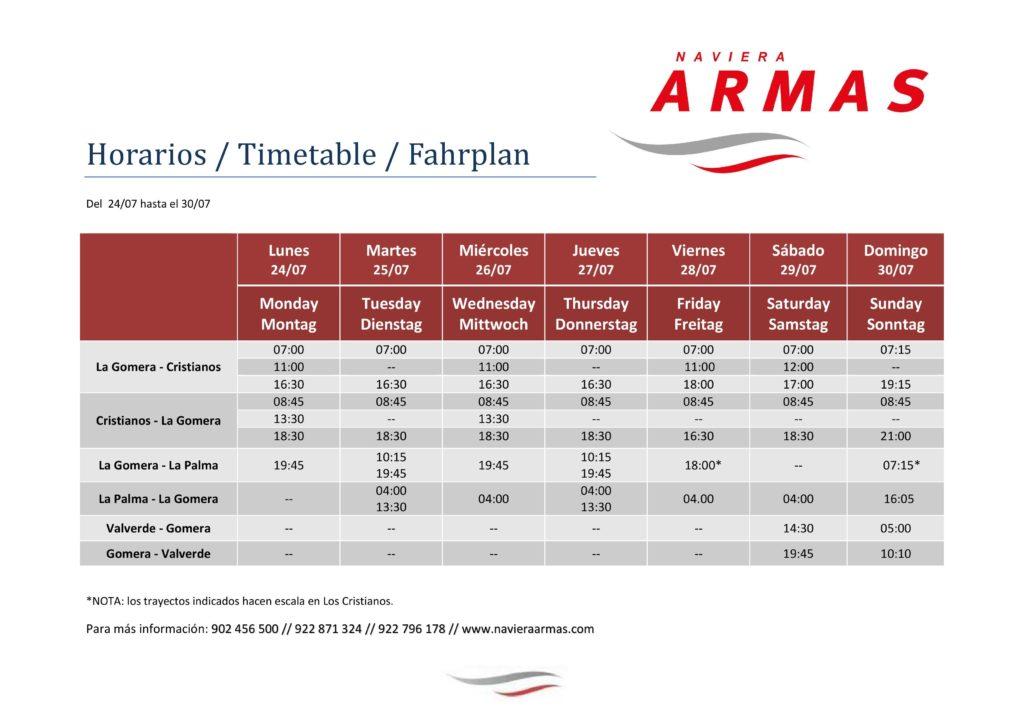 horario modificado 2