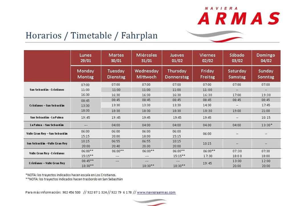 horarios de los buques de naviera armas en sus rutas desde