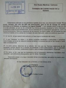 Escrito Cabildo a Sí se puede en relación con las estaciones eléctricas en La Laguna Grande
