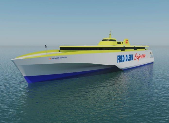 El Bajamar Express, el primero de los nuevos trimaranes de Fred. Olsen, comenzará a operar en abril 2020